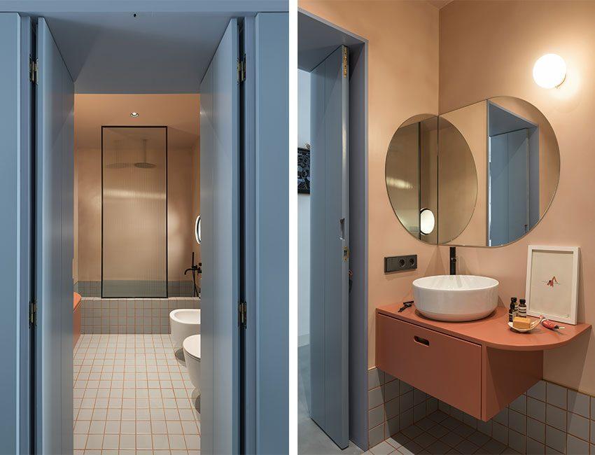 salle de bains corail bleue